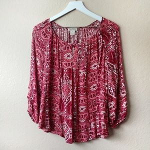 NWT Lucky Brand Boho Peasant Top Red size Medium